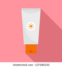 Sun lotion tube icon. Flat illustration of sun lotion tube vector icon for web design