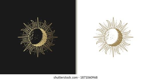 Sun luxury gold hand drawn engraving style vector illustration.