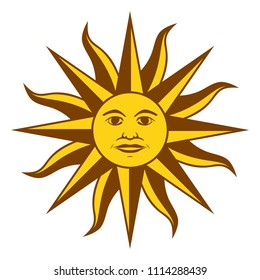 Sun of May, Spanish Sol de Mayo, a national emblem of Uruguay on the country flag. Radiant golden yellow sun with a face and sixteen straight and sixteen wavy rays. Illustration over white. Vector.