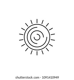 Sun. Minimal abstract design element for tattoo art and logo. Stock vector.