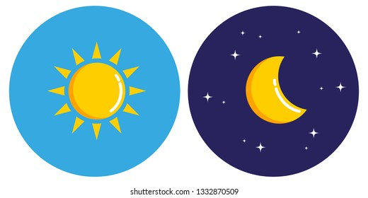 sun and moon in circle day and night concept vector illustration EPS10