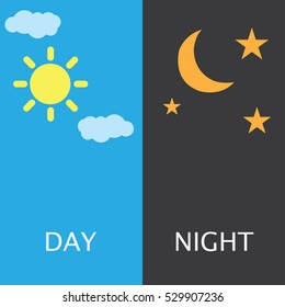 Sun and moon, day and night.
