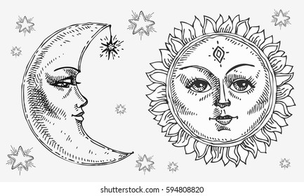 Sun and moon with face stylized as engraving. Can be used as print for T-shirts and bags, decor element. Day and night. Hand drawn Vector astrology symbol