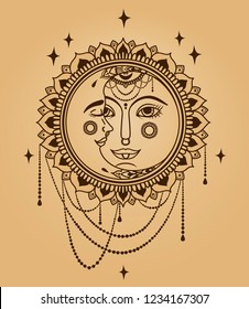 Sun and moon faces and jewels, old fashioned colors, boho style vector illustration