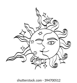 Sun and moon with faces. Romantic magic symbol feminine and masculine. Doodle cartoon black and white art. Hand drawn alchemy sign. Vector illustration.