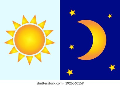Sun moon in flat style. Simple design. Contemporary infographic set. Funny cartoon character. Vector illustration. Stock image. EPS 10.