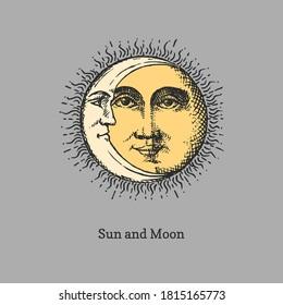 Sonne und Mond, handgezeichnet im Gravierstil. Vektorgrafik-Retro-Illustrationen. Vintage-Pastiche von esoterischen und okkulten Zeichen.