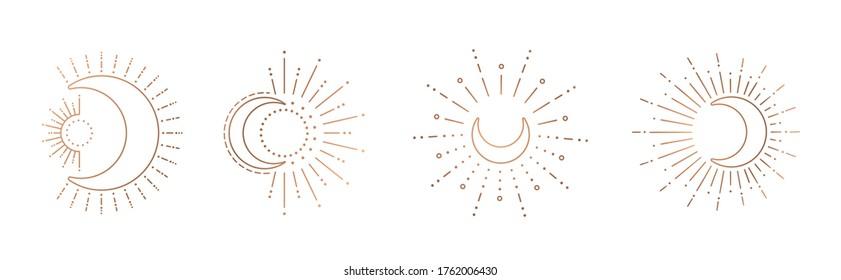 Sun and moon line art clipart. Outline sun logo, moon tattoo.