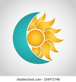 Sun and Moon logo. Abstract vector illustration