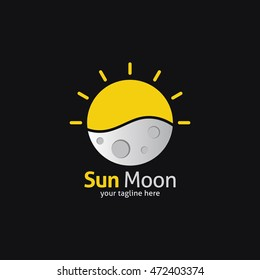 Sun Moon Logo Design Template. Vector Illustration. Flat style Design. Great for company Logo.