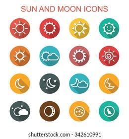 sun and moon long shadow icons, flat vector symbols