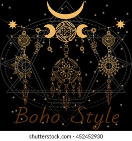 Sun and Moon medallions on the sacred geometry background. Boho chic style.