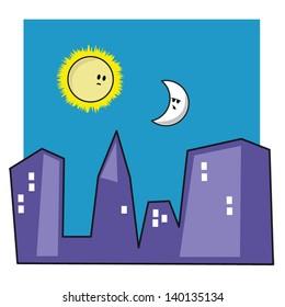 Sun and Moon over a city skyline.