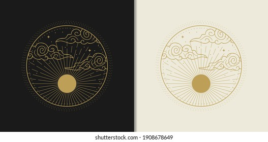 The sun or moon with its rays, decorated by clouds and stars. Abstract engraving illustration with esoteric, boho, spiritual, geometric, astrology, magic themes, for tarot reader, card or posters