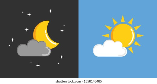 sun and moon in sky day and night vector illustration EPS10