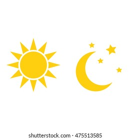 Sun and moon in sky, day and night. Vector Sun and moon flat icon