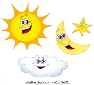 Sun moon star and cloud set