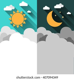 Sun, moon, stars and clouds banner. Day and night time concept vector banner. Sunny Day flyer. Star Moon Night flyer. Weather background. Forecast concept banner. Daytime poster. Day and Night layout