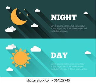 Sun, moon and stars, clouds icons. Day and night sky vector banners. Flat style illustration with long shadows. Day time concept posters.