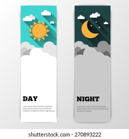 Sun, moon and stars. Day and night vector banners isolated.