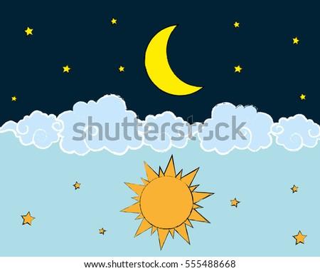 sun moon stars day night vector 库存矢量图 免版税 555488668