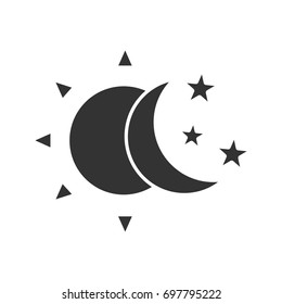 Sun and moon with stars glyph icon. Silhouette symbol. Day and night. Negative space. Vector isolated illustration