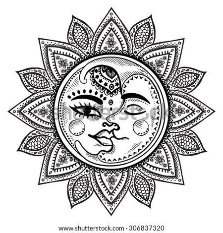 Sun Moon Stars Vintage Vector Illustration Stock Vector Royalty