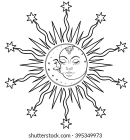 Sun Moon symbols as a face inside ornate mandala. Round pattern. Vintage decorative vector illustration isolated on white. Hand drawn. Retro style card design. Coloring book for kids and adult.