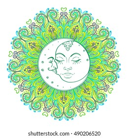 Sun Moon symbols as a face inside ornate colorful mandala. Round pattern. Vintage decorative vector illustration isolated on white. Hand drawn. Retro style card design.