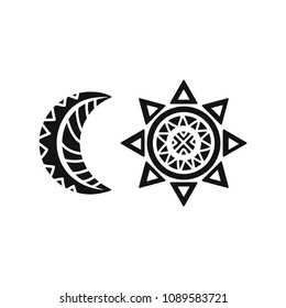 Sun and moon tribal tattoo. Ornamental design. Vector illustration isolated on white background.