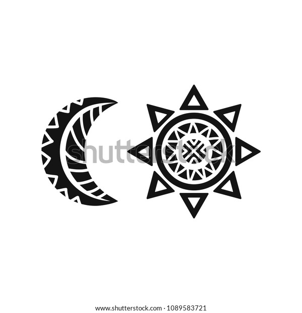 1b94a0101 Sun and moon tribal tattoo. Ornamental design. Vector illustration isolated  on white background.