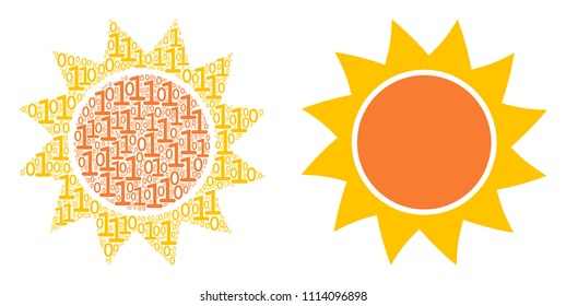 Sun mosaic icon of binary digits in different sizes. Vector digital symbols are arranged into sun illustration design concept.