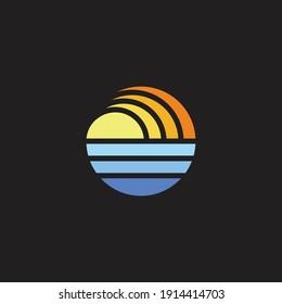 sun ocean gradient geometric circle logo vector