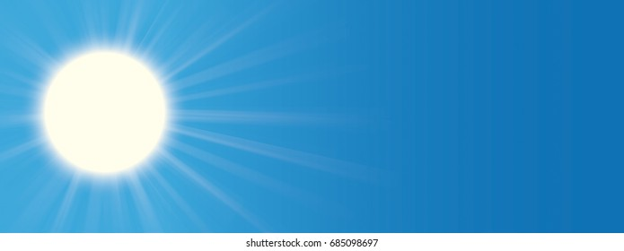 Sun on the blue sky. Eps 10 vector file.