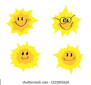 Sun on a white background. Collection. Vector illustration.