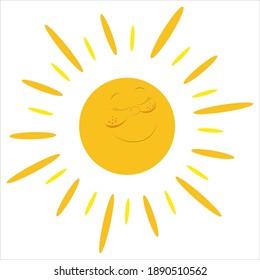 Sun  on white ground vector illustration. İcon set.