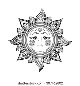 Sun, ornamental doodle vector illustration isolated on white background