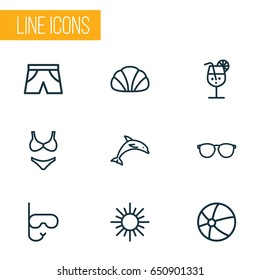 Sun Outline Icons Set. Collection Of Cocktail, Animal, Conch And Other Elements. Also Includes Symbols Such As Shorts, Glasses, Sea.