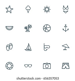 Sun Outline Icons Set. Collection Of Lifesaver, Palm, Ship And Other Elements. Also Includes Symbols Such As Sun, Star, Ice.