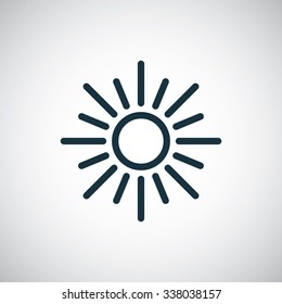 sun outline, thin, flat, digital icon for web and mobile