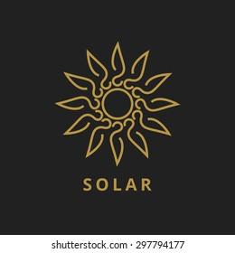 sun outline vector logo icon line art flat web best solar energy power alternative renewable www