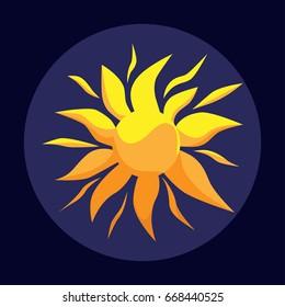 Sun over blue background. Vector illustration.