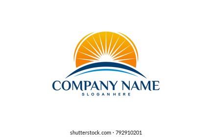 Sun over horizon Logo designs concept, Bright Sun logo designs template