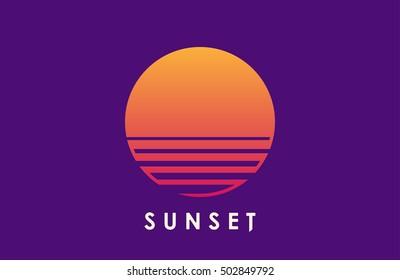 Sun over the sea. Creative logo