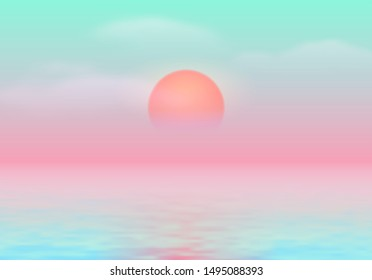 Sun over the sea with sun road and vaporwave 90s styled calm blue and pink colors