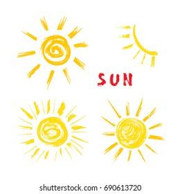 Sun Paint Brush Strokes Vector Set. Hand drawn Grunge Yellow Suns