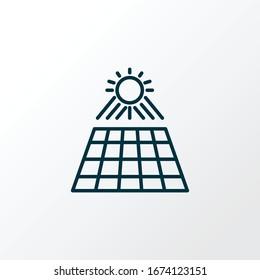 Sun panel icon line symbol. Premium quality isolated solar power element in trendy style.
