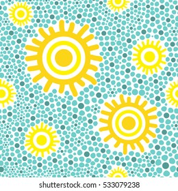 Sun pattern vector seamless. Yellow sunny kids wallpaper print on green background.
