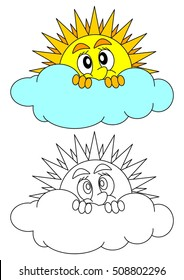 The sun peeks shyly behind a cloud - coloring book for young children - vector