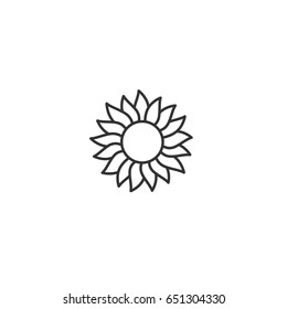 Sun with petals rays icon. Flat symbol. Sun flower with curved petals. Vector illustration. Black and white. Thick outline. Summer sign.